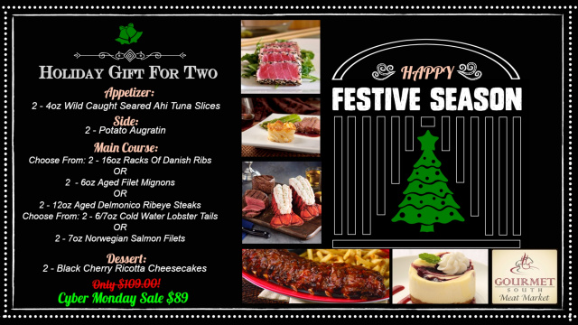 Holiday Gift For Two With Danish Ribs & Seafood & Steak Option